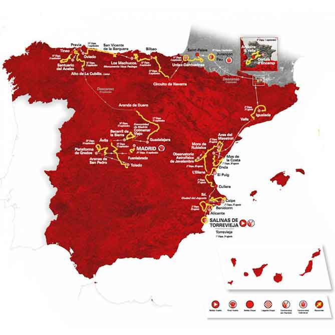 Ronde van Spanje 2019 Etappes en Routekaart