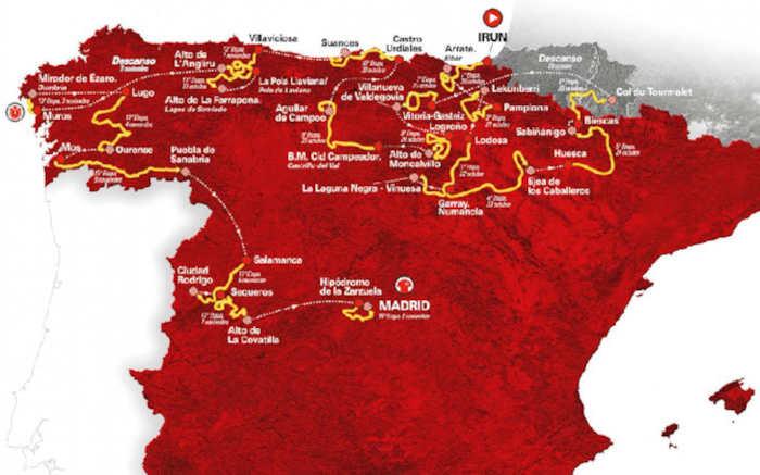 Etappes ritten en route Ronde van Spanje 2020